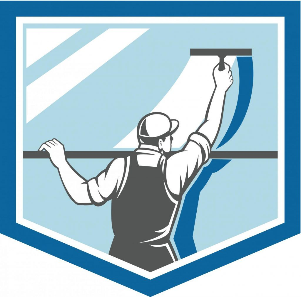 Cartoon image of man cleaning window